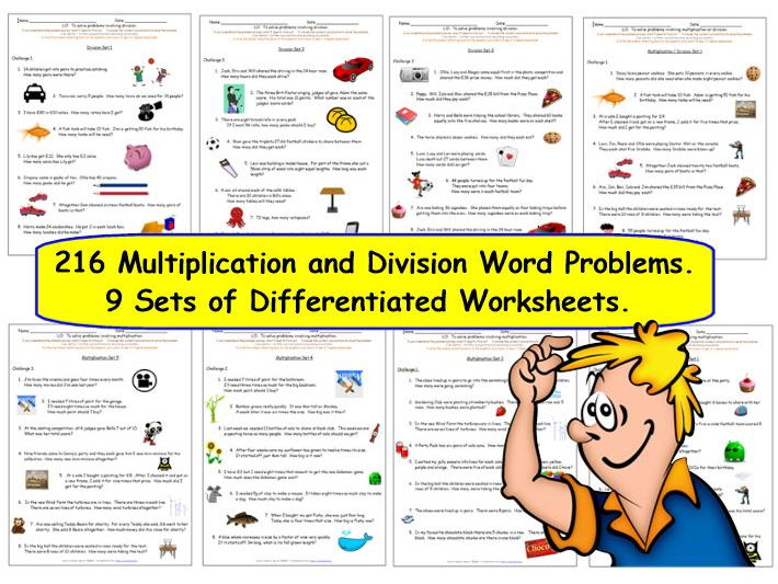 Y3 Multiplication & Division Word Problems.  Over 200 Differentiated Problems with answers.