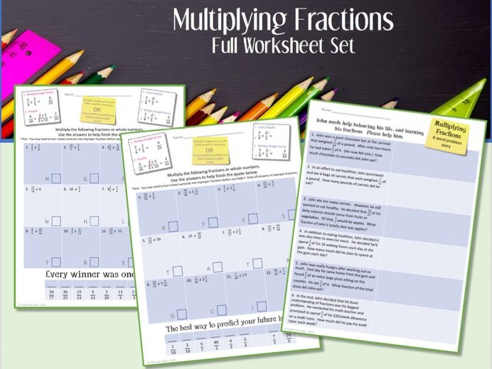 Multiplying Fractions --Full Worksheet Set