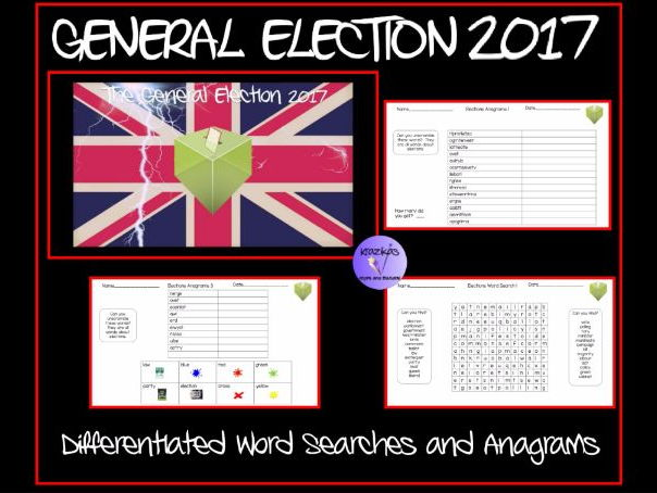 UK General Election Themed Differentiated Anagrams and Word Searches - Set of 6