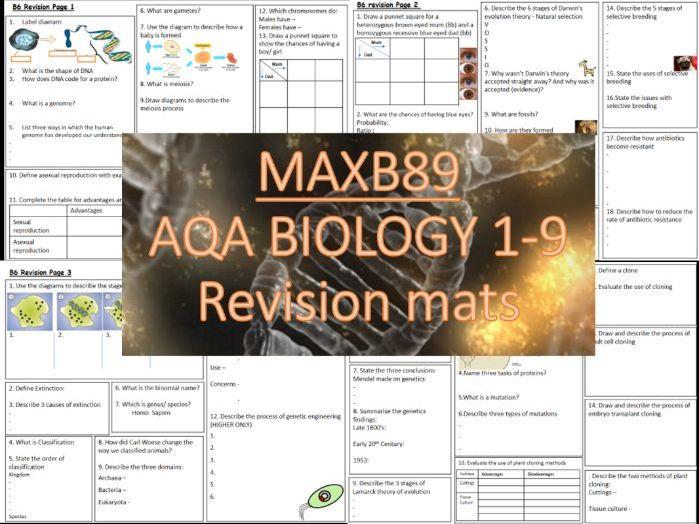 GCSE 9-1 Revision Biology AQA  Unit 6 Revision Mats