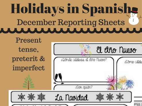 Holidays in Spanish | December Reporting Sheet
