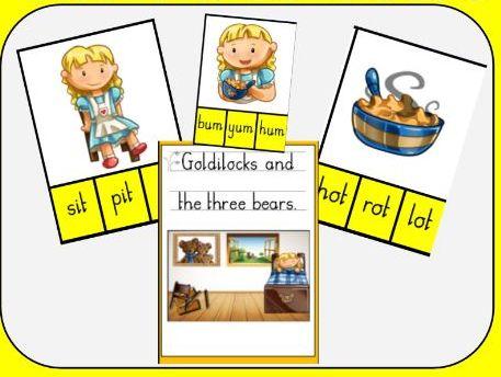 Goldilocks and the Three Bears - Multiple choice CVC word peg boards