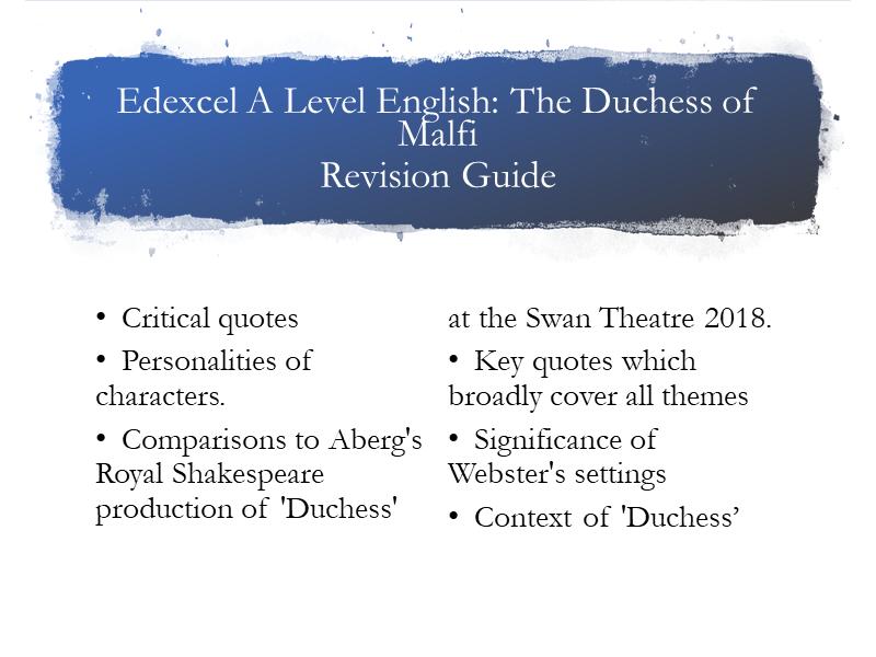 Edexcel A Level Duchess of Malfi Guide