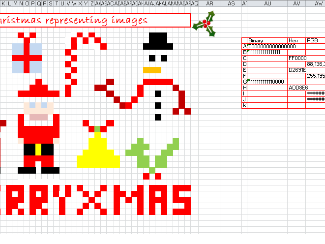 Binary to Hex Christmas lesson.
