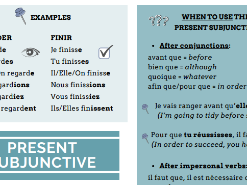 GCSE French revision subjunctive