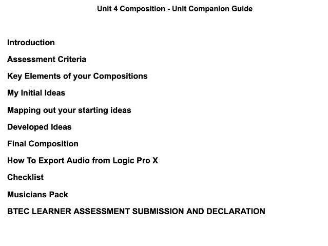 Unit 4 Composition Companion Guide