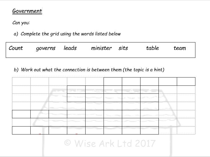 Word grids for tutor time etc.