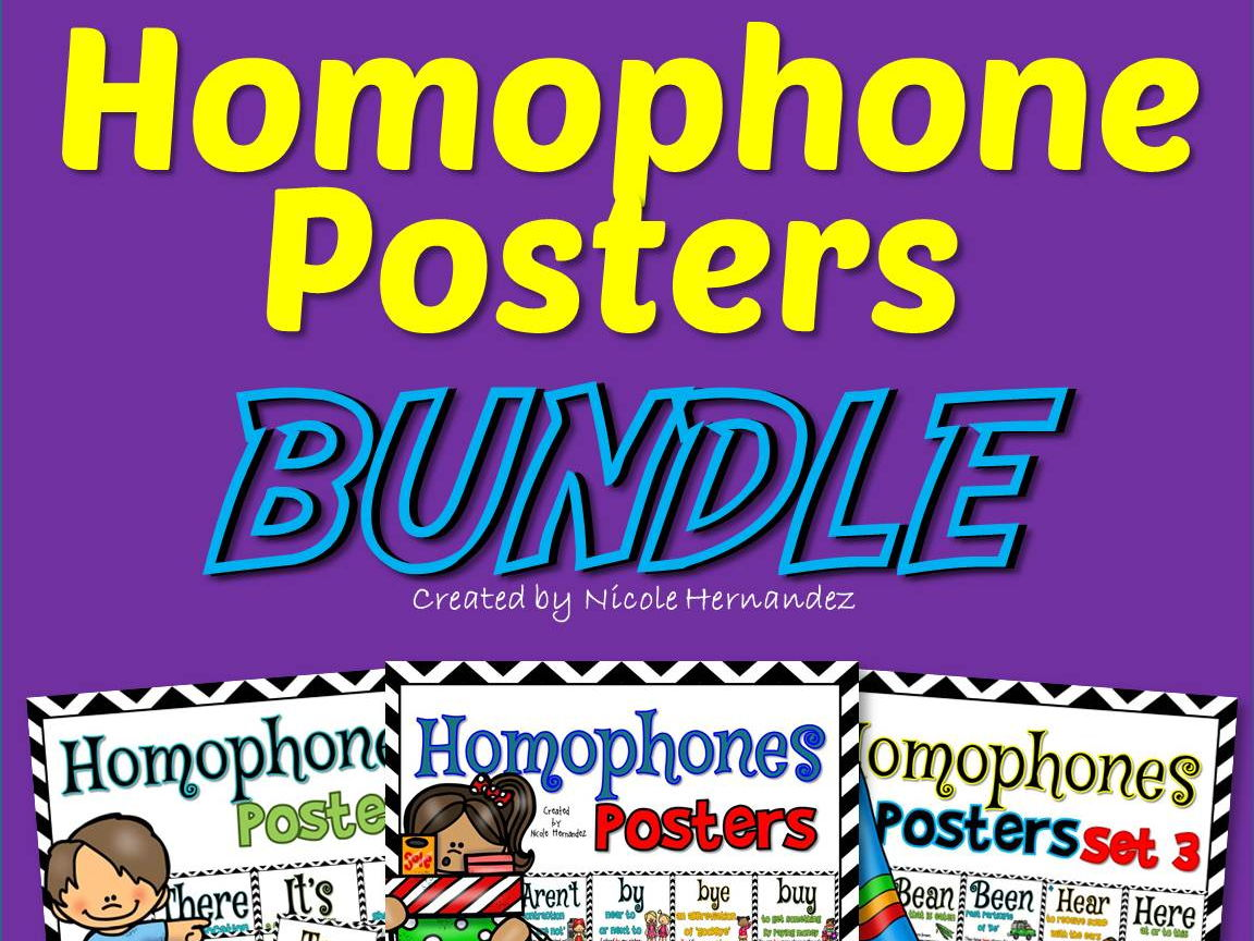 Homophone Posters BUNDLE (All 87 Posters)