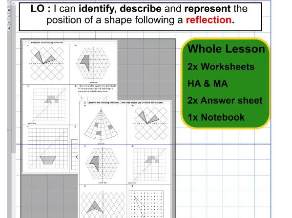 Reflection - Geometry - Position of shape -  ks2 year 5 & 6  - Whole lesson