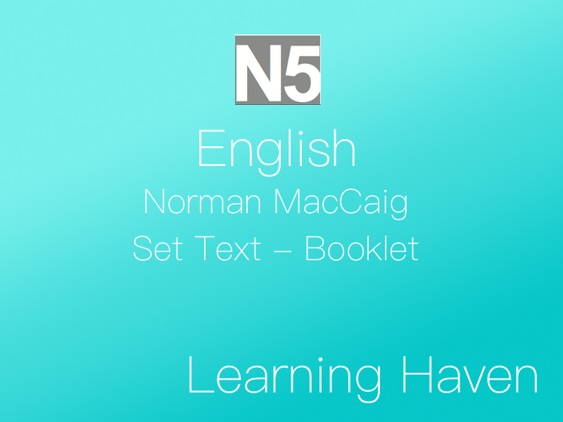 National 5 English - Norman MacCaig (Set Text)