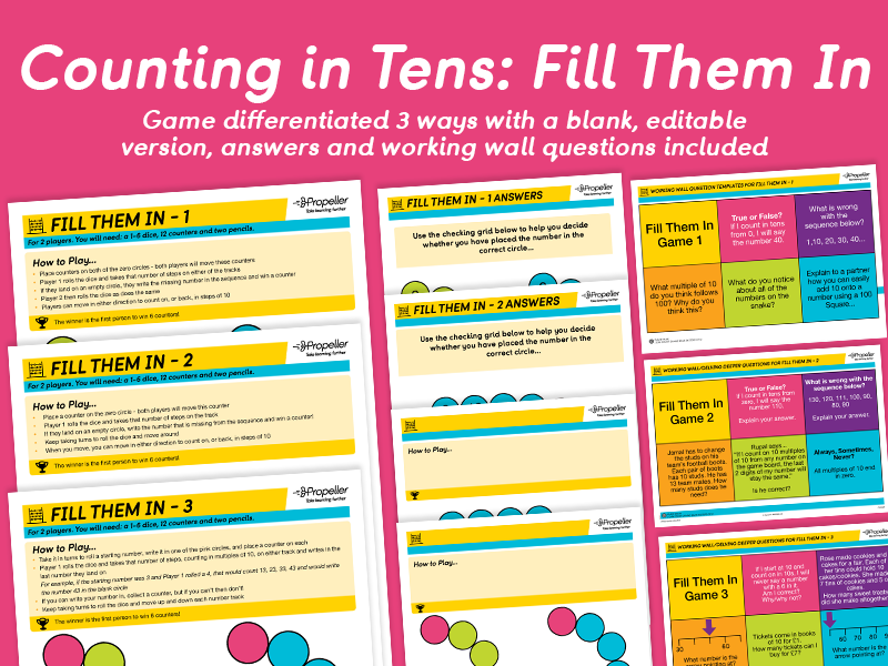 Counting in Tens: Fill Them In (Differentiated)