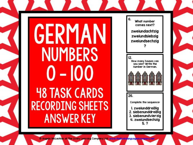 GERMAN NUMBERS 0-100 - 48 TASK CARDS WITH RECORDING SHEET & ANSWER KEY