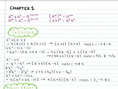 AS Pure Maths notes- Chapter 1 (Algebraic Expressions)
