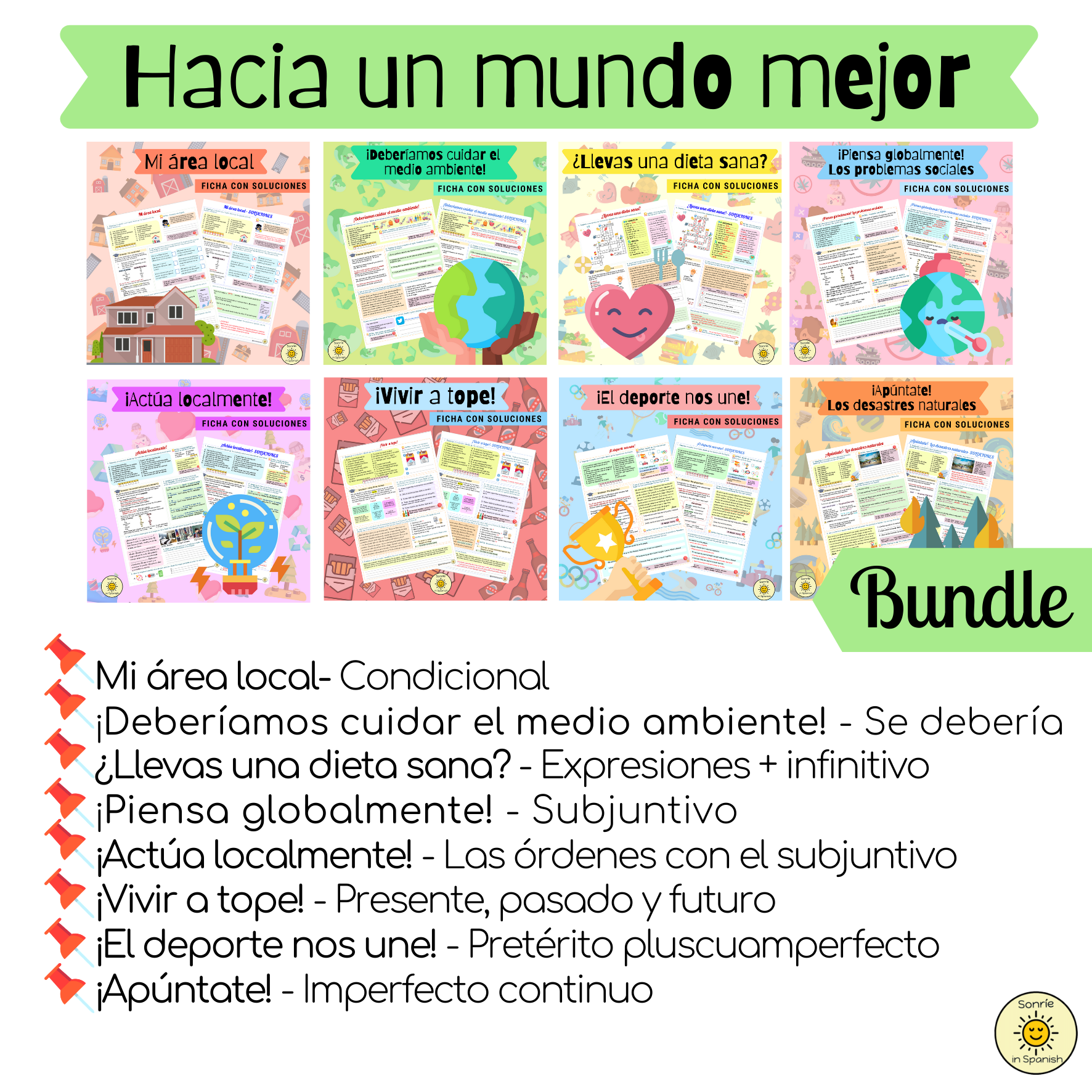 Hacia un mundo mejor. Pack de fichas con soluciones sobre el tema del medio ambiente y los problemas sociales. Spanish GCSE bundle on the topic of Environment/ Social issues. Worksheets with answers