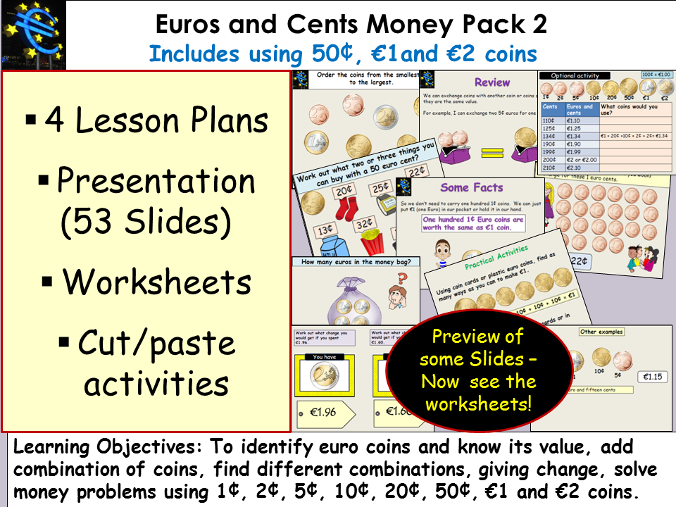 Money: Euros and Cents, Presentation, Lesson Plans, Worksheets/Activities Pack 2