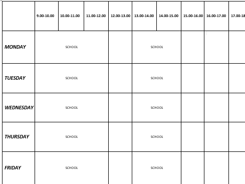REVISION TIMETABLE - PLANNING YOUR TIME