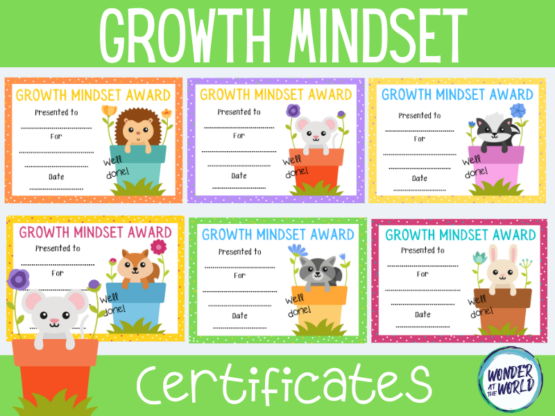 Growth mindset certificates KS1