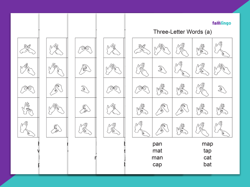 Three-Letter Fingerspelling Word Search Set