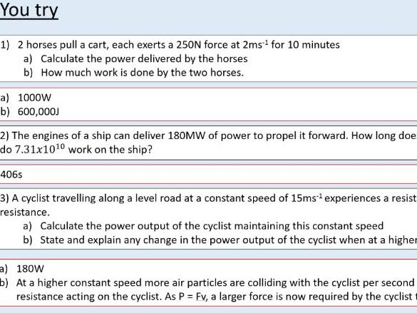 A level Physics (10.3) Power (Work, energy, and power)