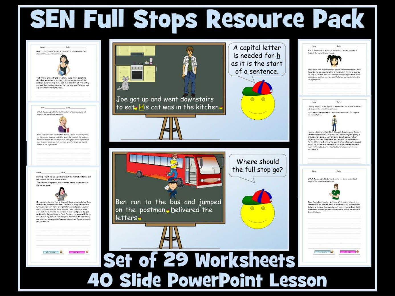 Full Stops and Capital Letters for SEN Students- PowerPoint Lesson and Two Sets of Worksheets