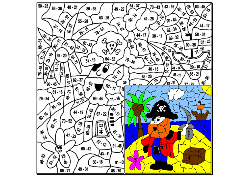 Subtraction Colouring Puzzle by Arithmetints