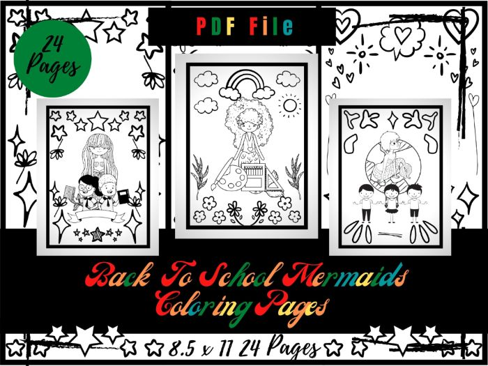 Back To School Mermaids Theme Colouring Pages, Printable Colouring Sheets PDF
