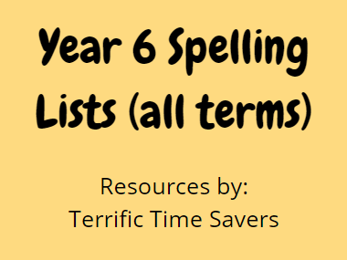 Year 6 Termly Spelling Lists