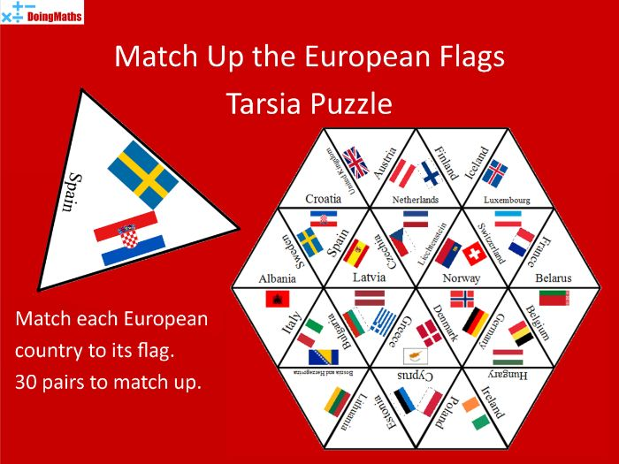 European Flags Tarsia Jigsaw Puzzle - Geography Match-up Activity