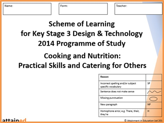 Year 7 Cooking and Nutrition Practical Skills SoL Workbook