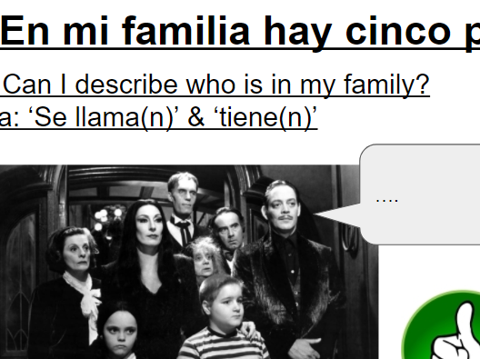KS3 Year 7 Spanish Mira 1 Module 3 En mi familia Introducing family members, names, ages 2 lessons
