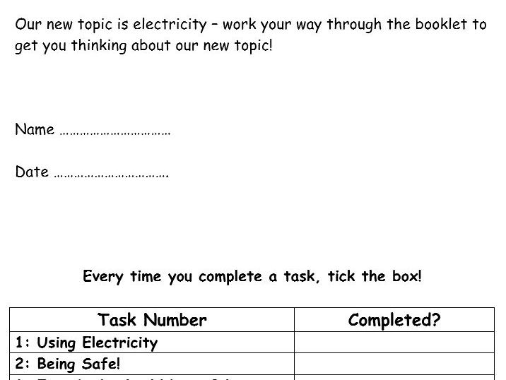 Electricity Class/Homework Booklet - (KS3) Electricity