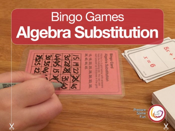 Algebra Substitution Bingo Game