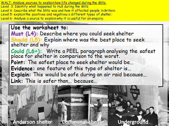 KS3 The Blitz (WW2) How useful sources