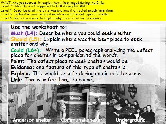 KS3 The Blitz (WW2) How useful sources