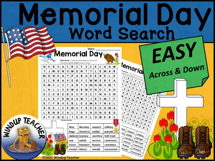 Memorial Day Word Search EASY Puzzle