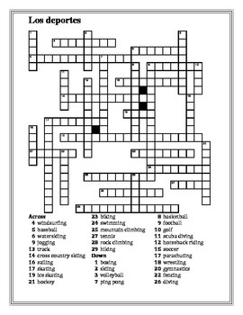 Deportes (Sports in Spanish) crossword 1