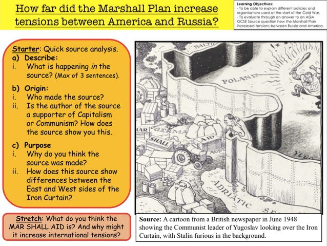cold war how far did the marshall plan increase tensions