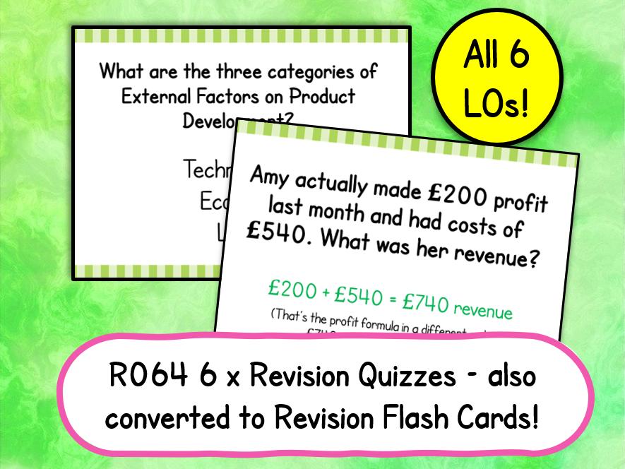 R064 Revision Quizzes & Flash Cards (All 6 LOs) Enterprise & Marketing
