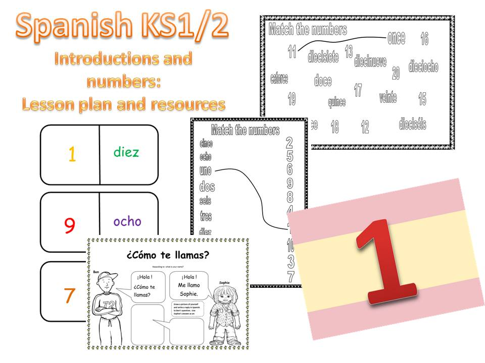 Spanish Introductions and Numbers Lesson Plan and Resources - KS1/2