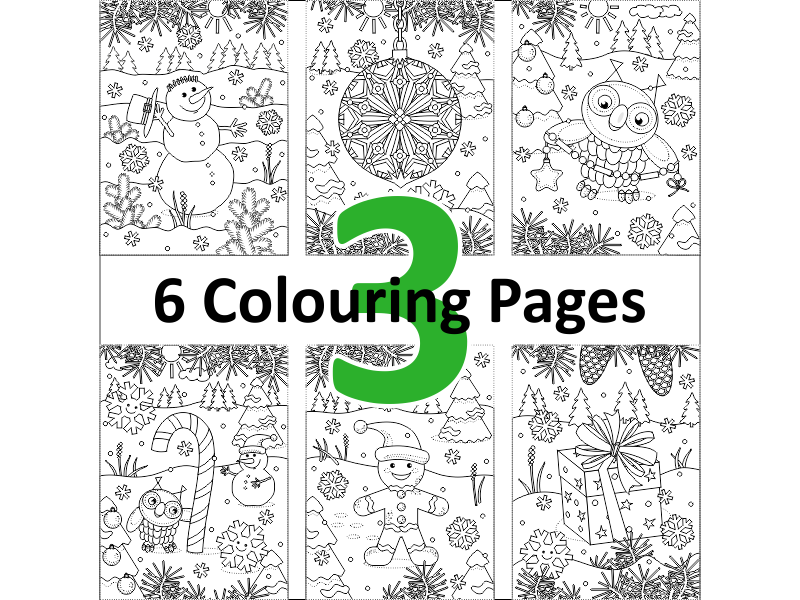 6 Colouring Pages, Set 3, Winter and Holidays