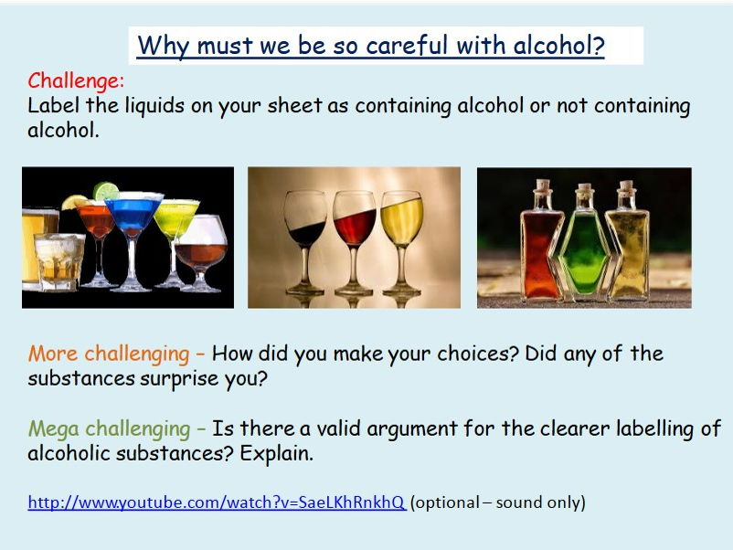 Alcohol: Alcohol Awareness PSHE lesson