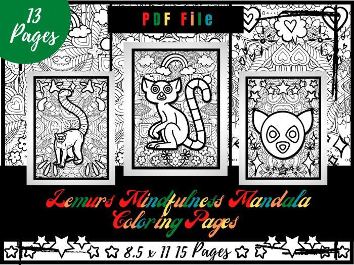 Lemurs Mindfulness Mandala Coloring Pages, Animals Coloring Printable Sheets PDF