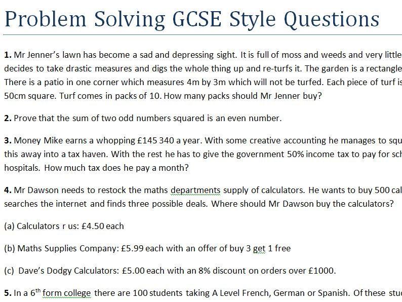 Problem Solving  GCSE Style Questions (Difficult)