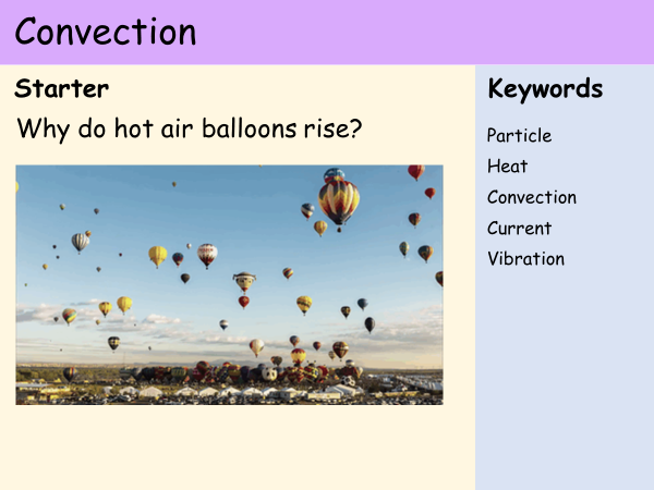 KS3 Heat and Energy - Lesson 4 - Convection