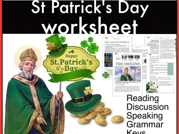 St Patrick's Day. Irish immigration. Symbols of Ireland. ESL/EFL