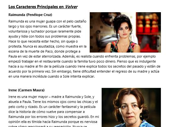 Los Caracteres Principales en Volver (A2 Spanish)