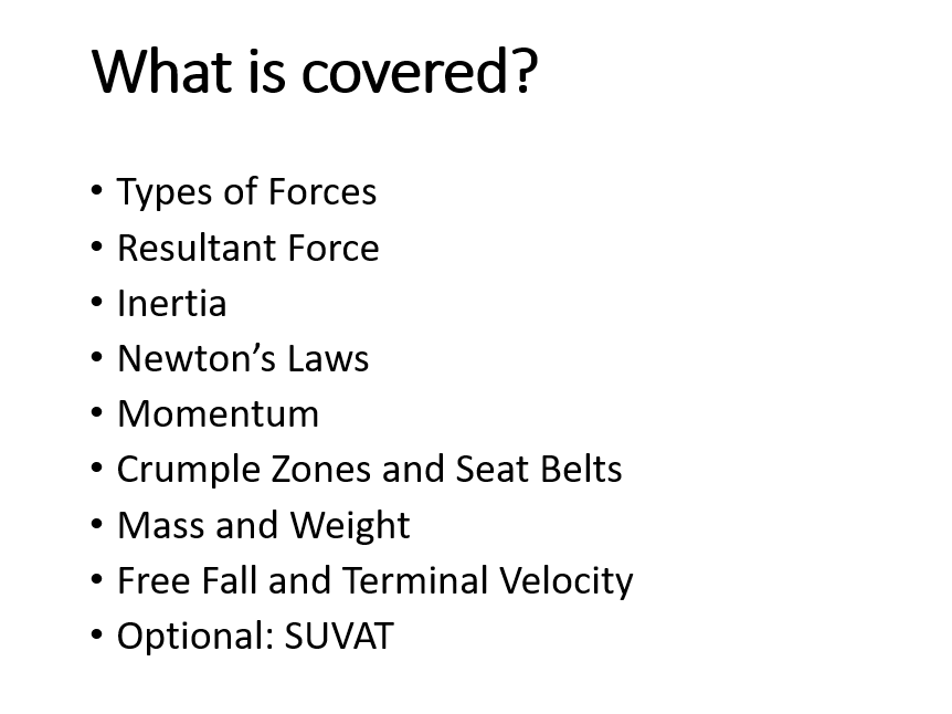 GCSE PHYSICS - FORCES, MOTION AND MOMENTUM FULL UNIT OF WORK