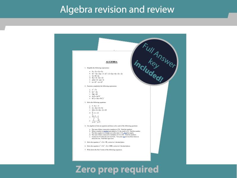 GCSE Maths revision - algebra