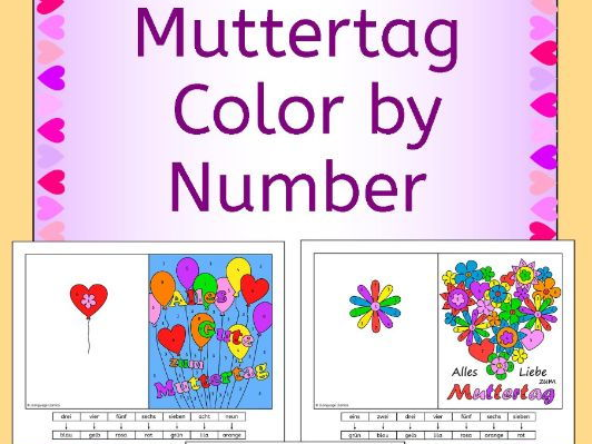 German Mother's Day (Muttertag) Color by Number Cards and Bookmarks