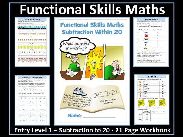 Functional Skills Maths - Entry Level 1 - Subtraction Within 20